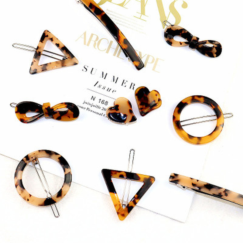 Korean Style Amber Leopard Print Acrylic Hair Clips Geometric Round Triangle Hairpin Women Girls Hair Acccessories