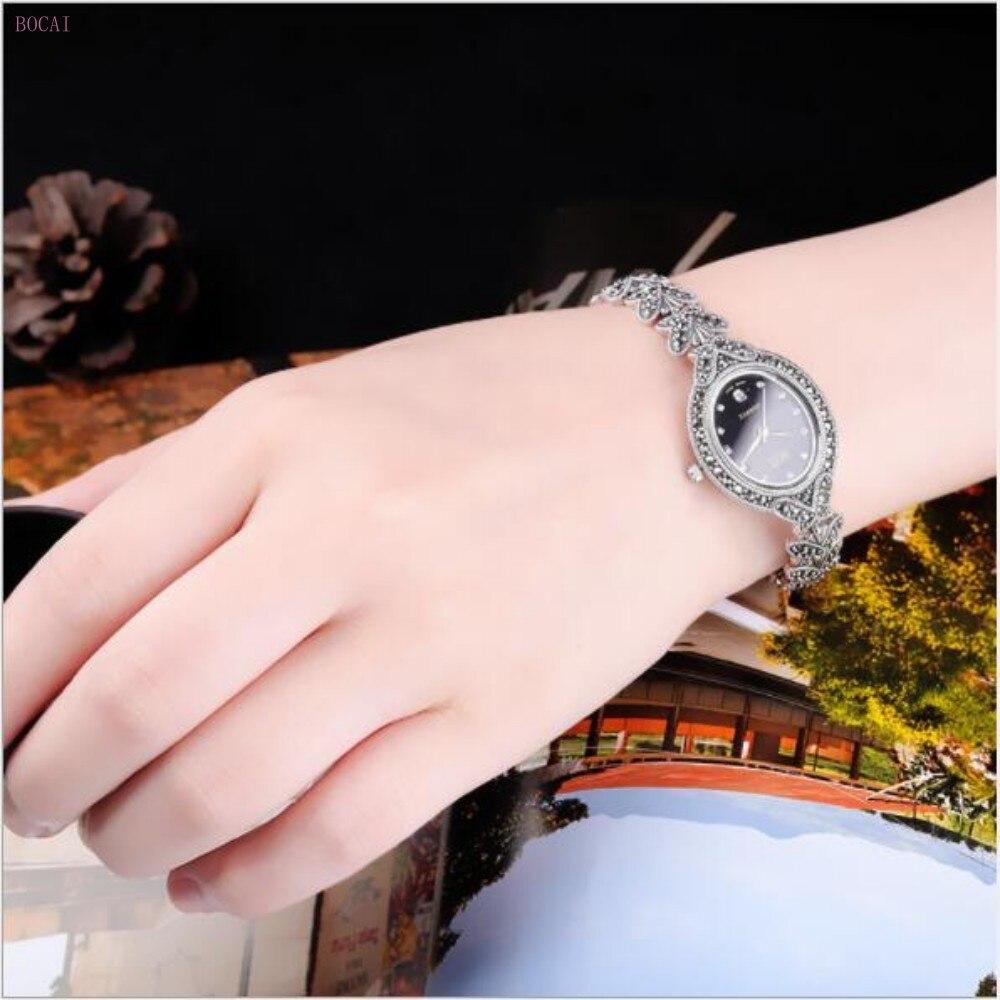 Zilver 925 S925 sterling zilveren armbanden voor vrouwen 2019 nieuwe stijl mode sieraden handgemaakte vlinder retro Horloge armbanden - 3