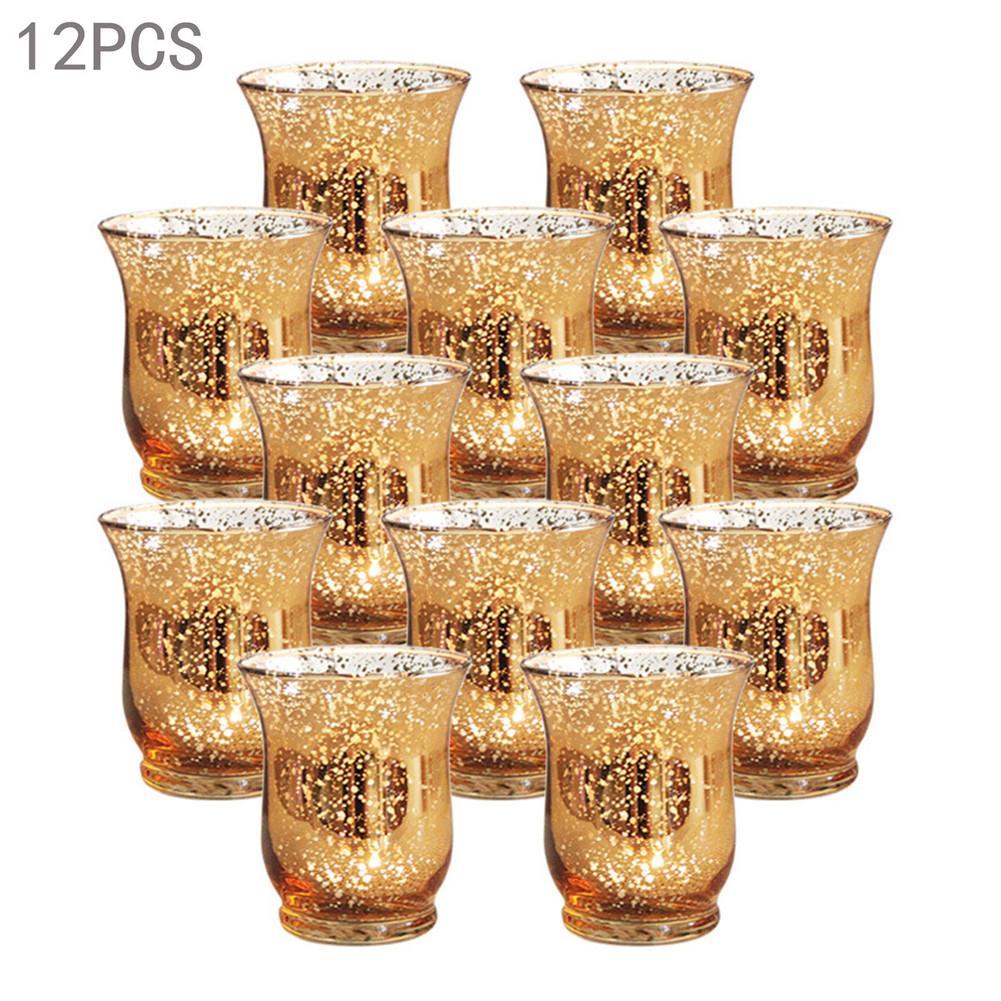 12 pièces verre bougeoir européen or tacheté verre vent lampe Votive photophore romantique mariages fêtes et Bar décoration