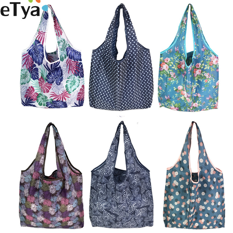 ETya Foldable Recycle Shopping Bag Women Travel Shoulder Grocery Bags Eco Reusable Floral Fruit Vegetable Storage Tote Handbag