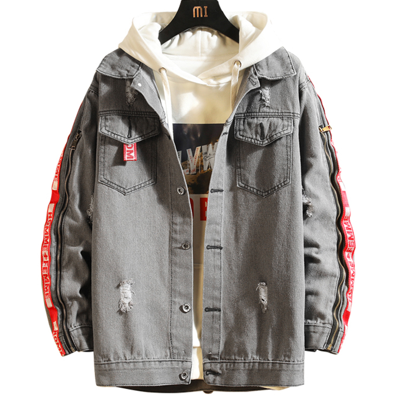 2020 New High Quality Denim Jackets Men Cowboy Slim Fit Bomber Jacket Men's Jean Jacket Hip Hop Hole Coats Men Chaqueta Hombre