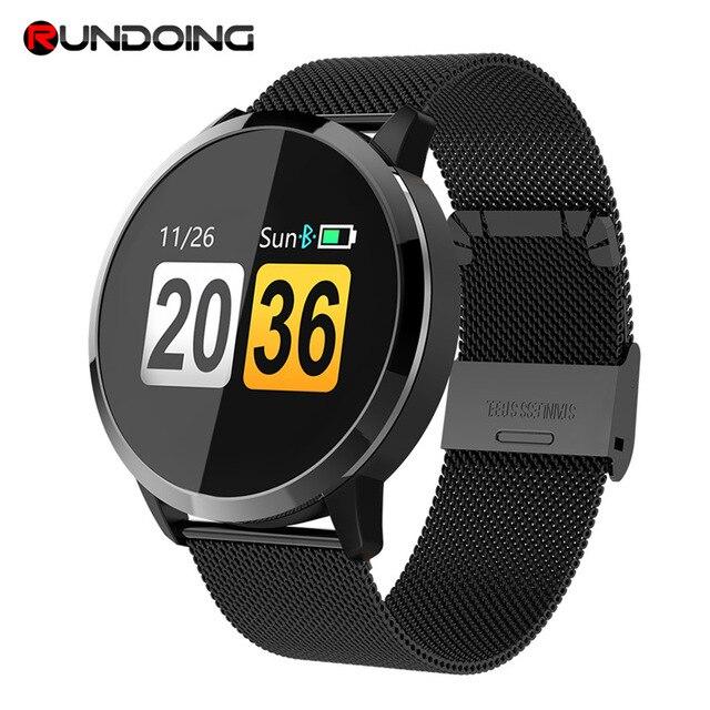Смарт часы RUNDOING Q8, розовая версия, OLED цветной экран, фитнес трекер, монитор сна, пульсометр, кровяное давление, умные часы