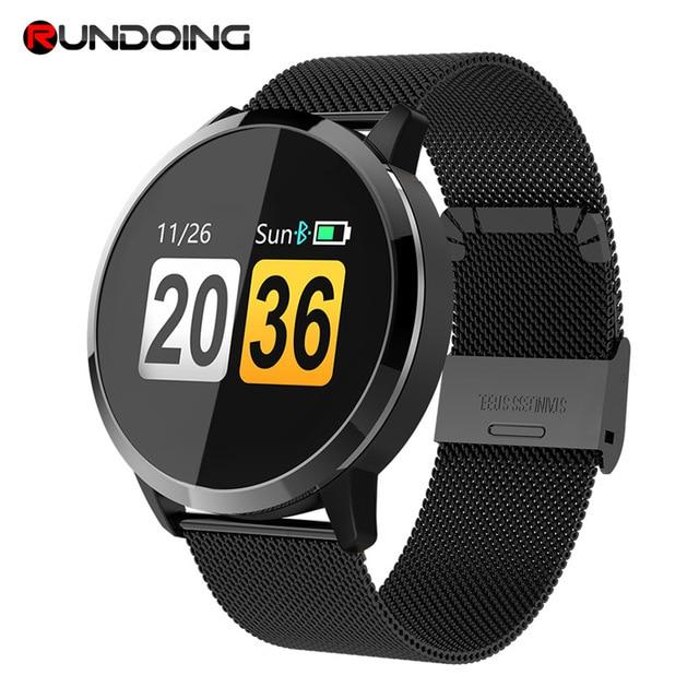 Rundoing q8 rosa versão relógio inteligente tela colorida oled rastreador de fitness monitor sono freqüência cardíaca pressão arterial smartwatch