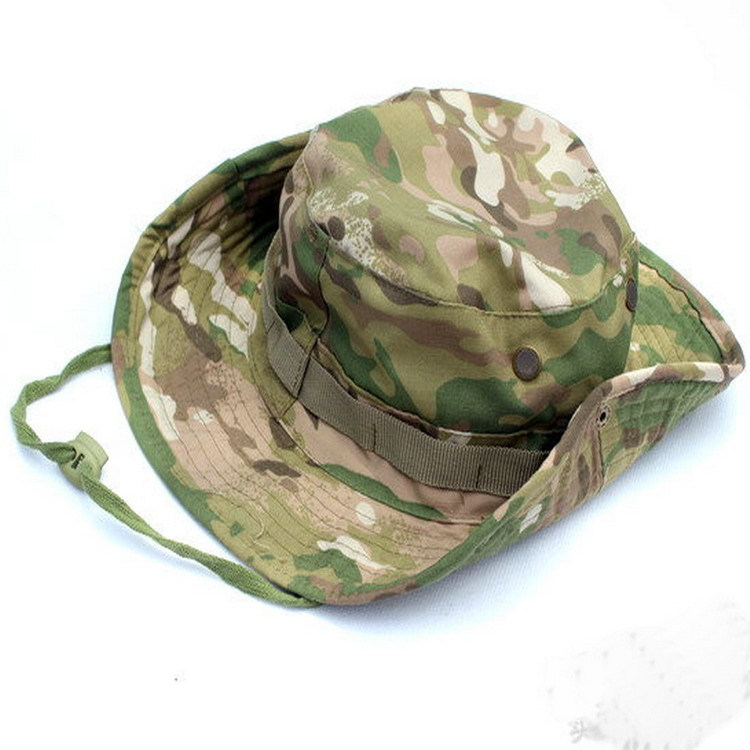 Outdoor Casual Jungle Camo Boonie Hat Rounded Edges Flanging Hat Bucket Hat Topee Outdoor Supplies Wholesale