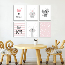 Pink Cartoon Animal Nursery Girl Wall Poster Picture Print Rabbit Baby Room Modern Canvas Painting Kids Children Wall Art Mural