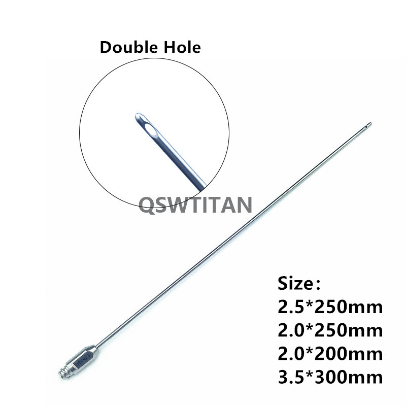Купить с кэшбэком Double Hole fat harvesting cannula cobra two holes liposuction cannula fat transfer aspirator