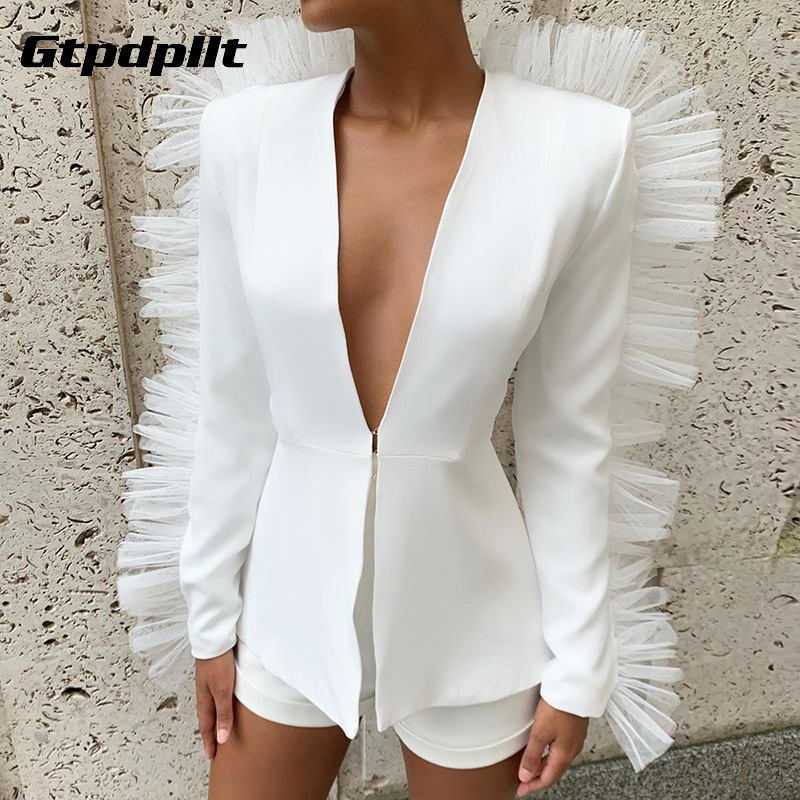 Gtpdpllt Mesh Ruffles Ladies Suit Women Jacket And Shorts Deep V Neck Sexy Chic Suit Women Office Set Blazer 2 Pieces Outfits