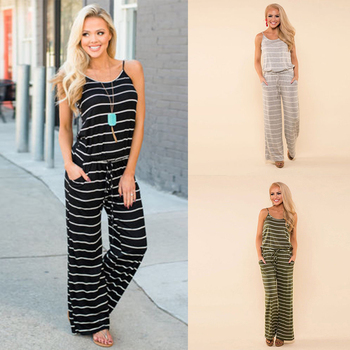 Womens Striped Sleeveless Jumpsuit Ladies Summer Casual Wide Leg Playsuit Romper Wide Leg Trousers Loose Lady  Sleeveless Female bardot frill trim wide leg jumpsuit