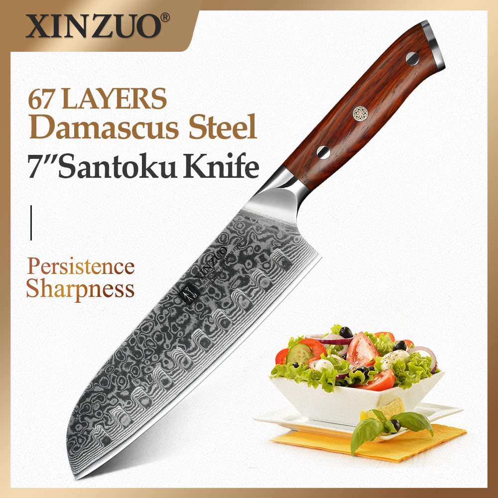 XINZUO 7 inch Japanese Chef Knife Chinese Damascus Stainless Steel Kitchen Knife, Professional Santoku Knives Rosewood Handle