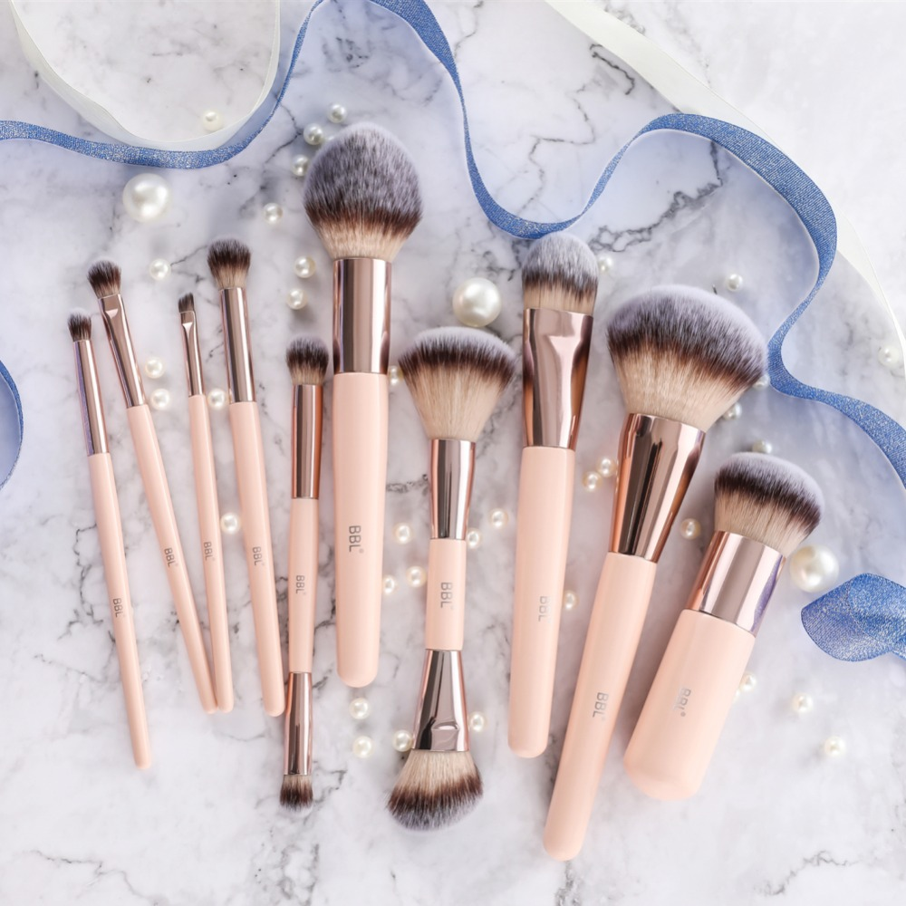 BBL 1pcs Pink Makeup Brush Kabuki Powder Foundation Blush Dual Ended Sculpting Blending Highlighter Smudge Eyeshadow Nasal Brush