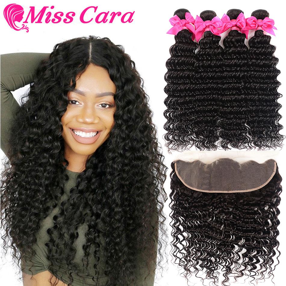 Malaio onda profunda pacotes com frontal 100% cabelo humano 3/4 pacotes com frontal miss cara remy frontal do cabelo humano com pacotes