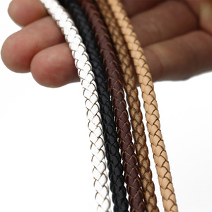 Mibrow Genuine Round Leather Cord String 3 4 5 6mm Vintage Braided Leather Rope Cord for Men Women Bracelet Jewelry Making(China)