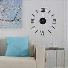 цена на European Roman numerals simple creative DIY clock acrylic wall sticker mute quartz clock combination wall clock mirror wall stic