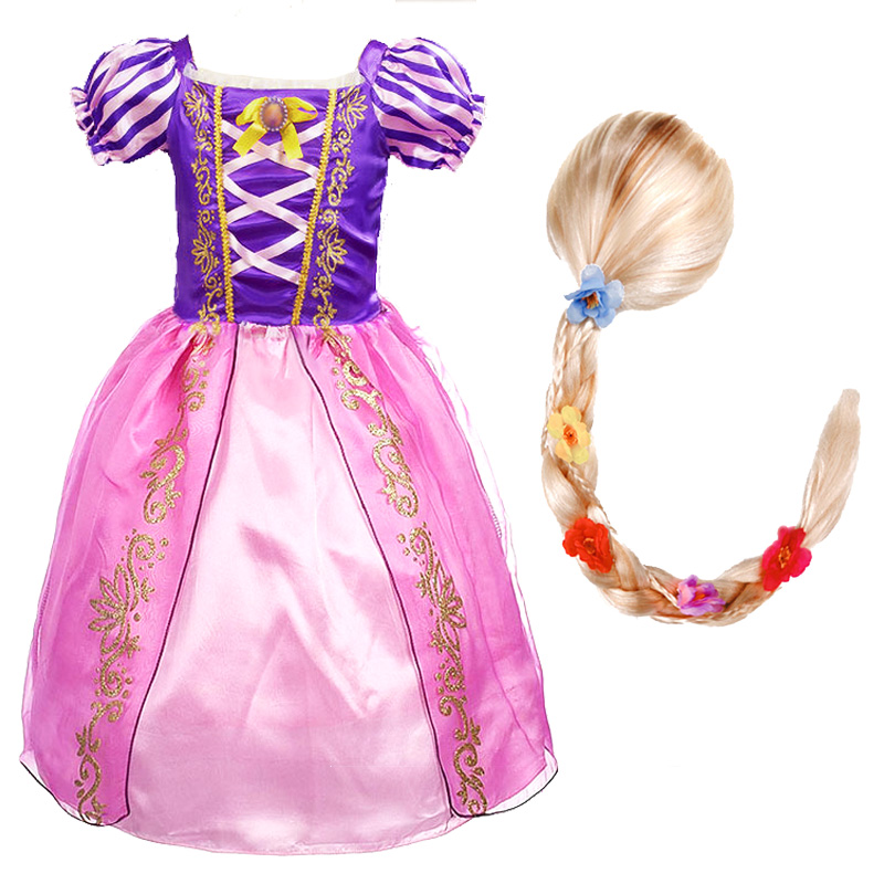Girls Rapunzel Princess Dress Kids Summer Flower Bow Costume With Wig Children Christmas Birthday Carnival Party Cosplay Dresses
