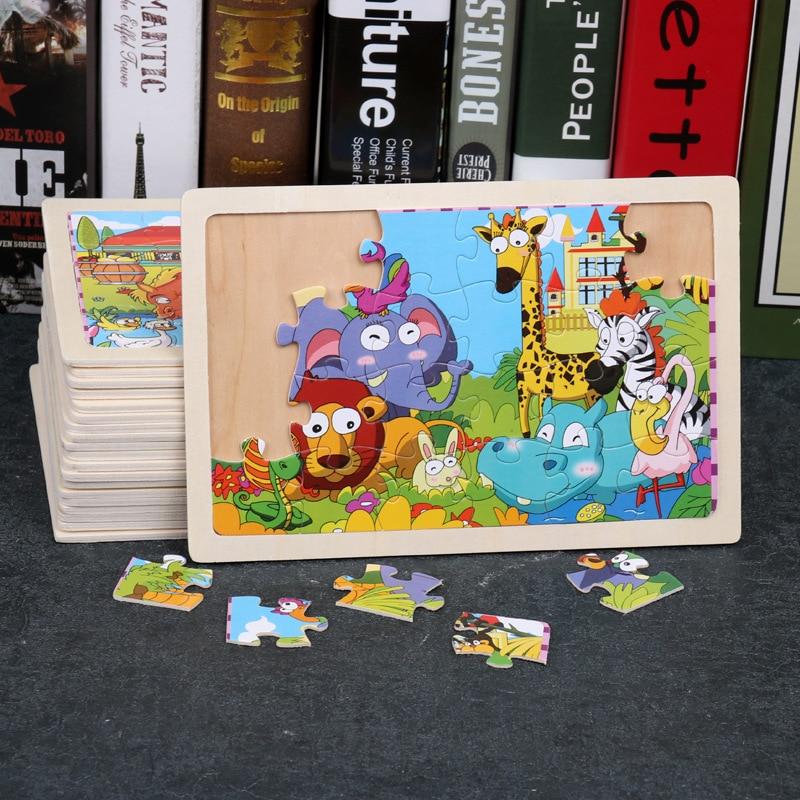 Crianças 3d de madeira 24 peça brinquedo colorido quebra-cabeça dos desenhos animados animal enigma crianças aprendizagem precoce montessori brinquedos educativos