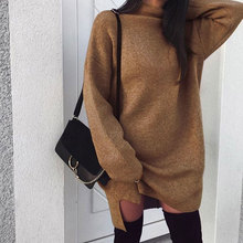 Winter Long Sleeve Women Sweater Dress Fashion Turtleneck Kn