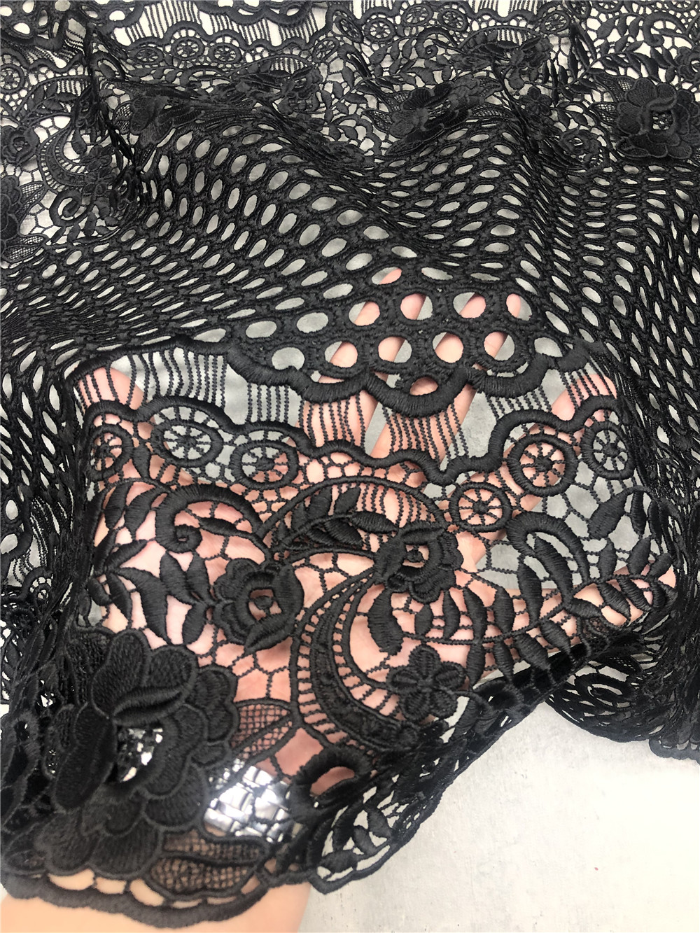 Muti Color Croechet Lace Fabric For Fashion  Dress