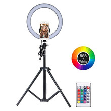 10in RGB LED Selfie Ring Licht USB Kamera Telefon Video Fotografie Beleuchtung mit Stativ für Youtube Make-Up Live-Streaming(China)