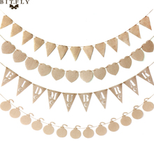 Conjunto de 13 unidades de arpillería de lino de yute, banderines, cartel con colgante de estrellas, corazón, mina, Bandera de Mubarak, guirnalda para cumpleaños, decoración del banquete de boda