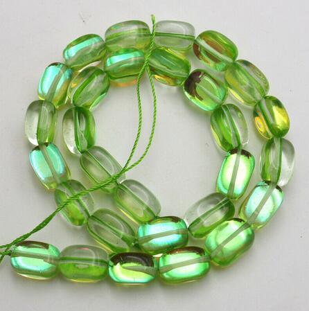 """Brillant 10x14mm vert irrégulier brillant arc-en-ciel pierre de lune gemme Beads15 """"bijoux"""