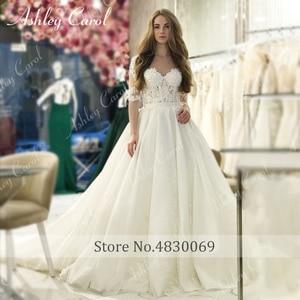 Image 5 - Ashley carol laço princesa vestido de casamento 2020 vestido de baile elegante miçangas apliques nupcial do vintage vestidos de noiva