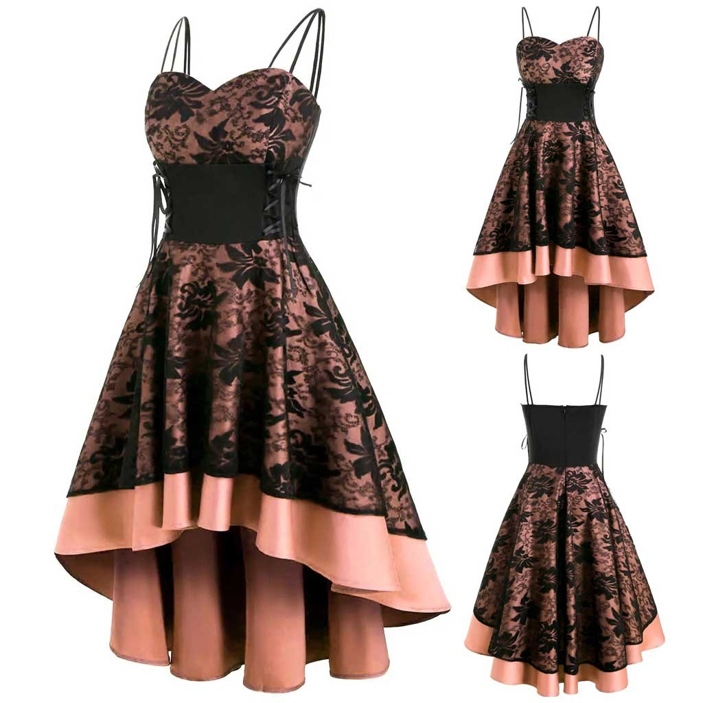 Womne Elegantly Vintage High Grade Cami Bandage Lace Up High Low Dresses Party Night Dress Dinner