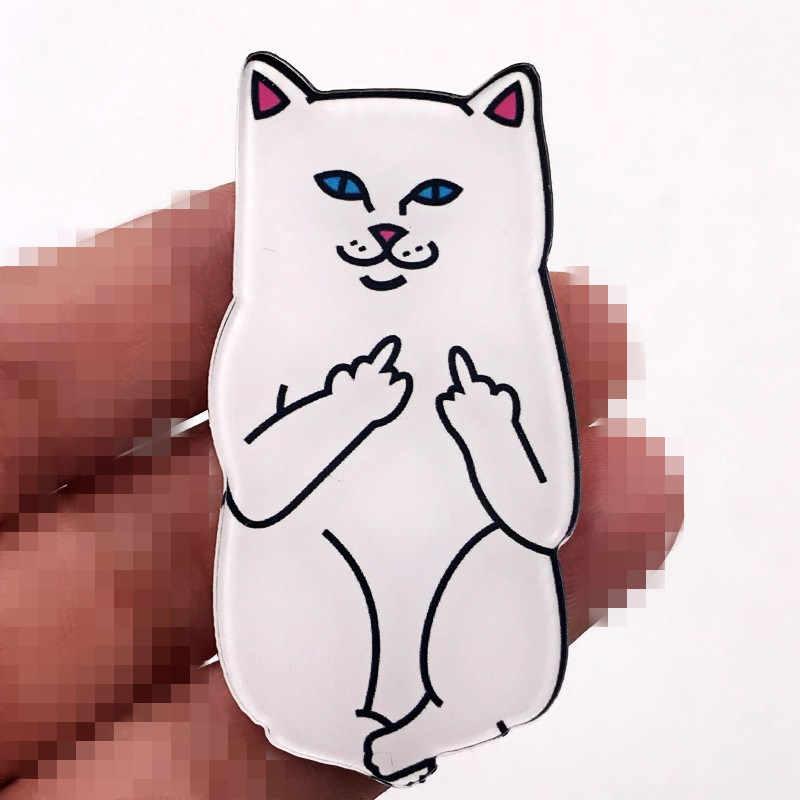 1 個ファッション漫画白猫アクリルブローチ女性男性服の装飾バッジフラップ襟スカーフ針子供ピンギフト