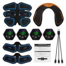 Ems estimulador muscular abdominal hip trainer toner usb abs treinamento de fitness em casa ginásio perda de peso corpo emagrecimento display lcd