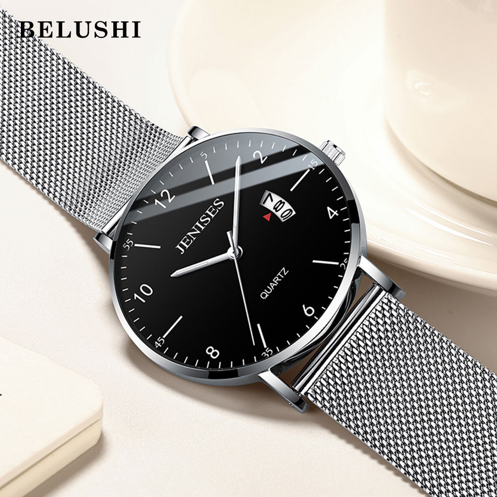 Jenises Mens Watches Top Brand Luxury Men's Quartz Watch Sport Casual Wristwatch Thin Steel Mesh Waterproof Watch Men Clock