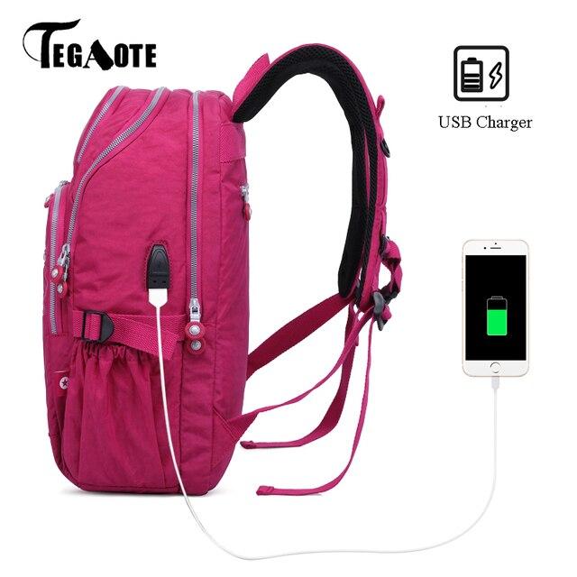 Tegaoteバックパック女性ボルサbagpackマルチポケットナイロン防水旅行バックパック子供スクールバッグ代の少女usb充電