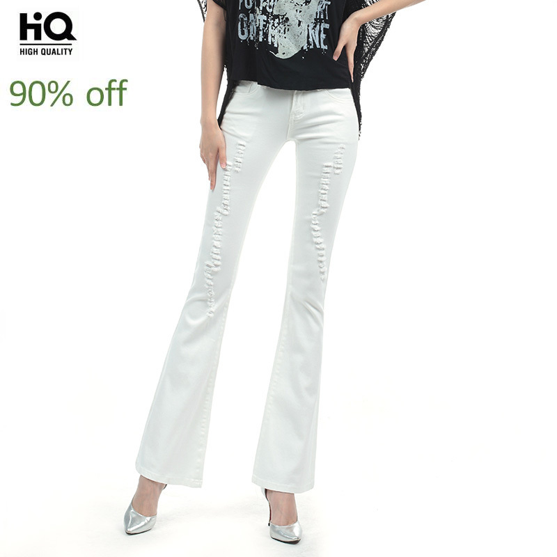 Spring Summer Slim Hole Ripped Flare Jeans Women Stretch Casual White Denim Trousers For Female Office Work Long Boot Cut Pants