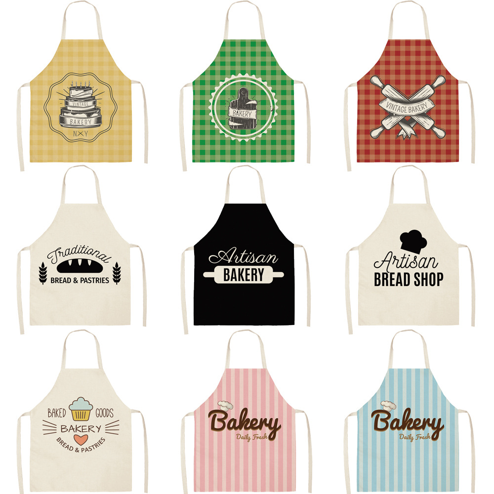 Parent-child Kitchen Apron Colorful Lattice Kitchenware Printed Sleeveless Cotton Linen Aprons For Men Women Home Cleaning Tools