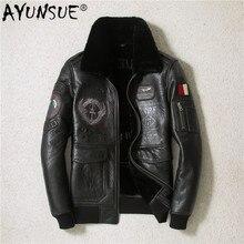 AYUNSUE/зимняя куртка из натуральной кожи для мужчин; пальто из овчины; мотоциклетная куртка для полетов; кожаные куртки с вышивкой; SWY-966