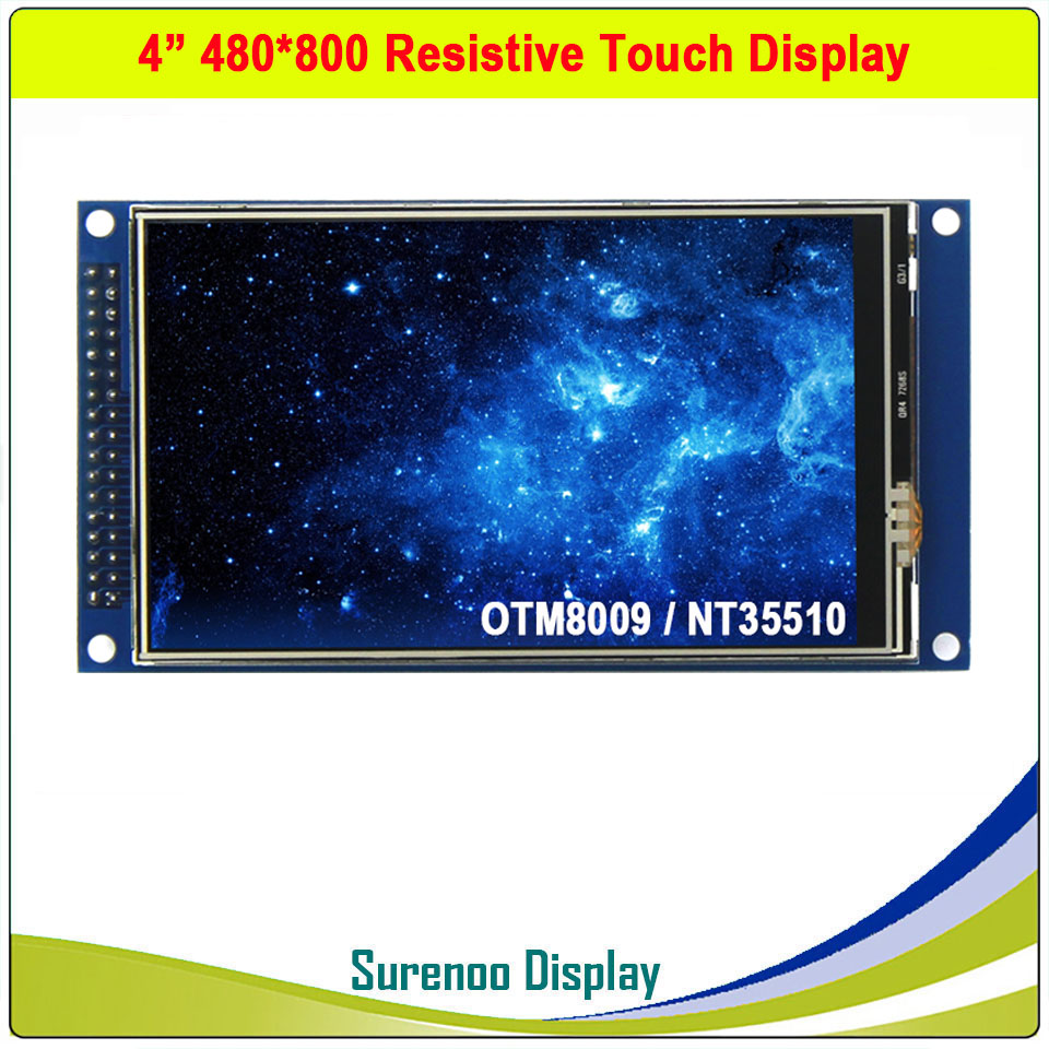 3.97 / 4 Inch 480*800 16.7M HD IPS Resistive Touch TFT LCD Module Display Screen Panel & Driver IC OTM8009 Or NT35510