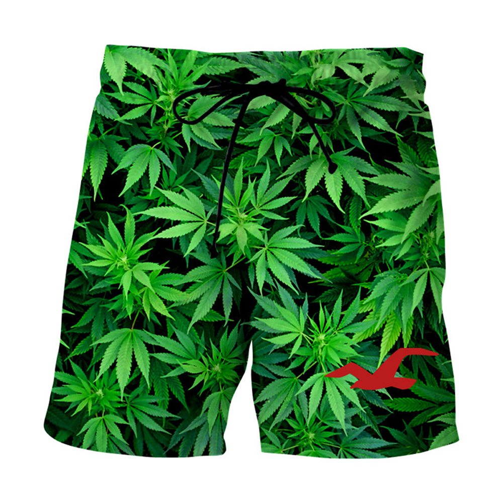 Swimsuit Man Casual Beach Shorts 2020 Fashion Maple Leaf Weeds 3D Print Men Summer Fitness Trunks Bermuda Board Shorts For Women