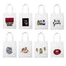 Handbags Tote-Bags White Shopper Storage Grocery Logo-Design Printing Personality Women