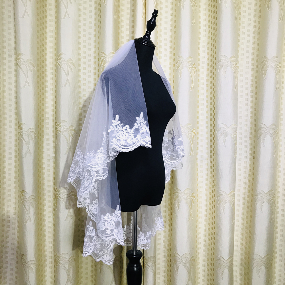New two layer White Ivory Short Wedding Veils Lace Fingertip Long wedding accessories Cheap Voile Bridal Veils With Comb