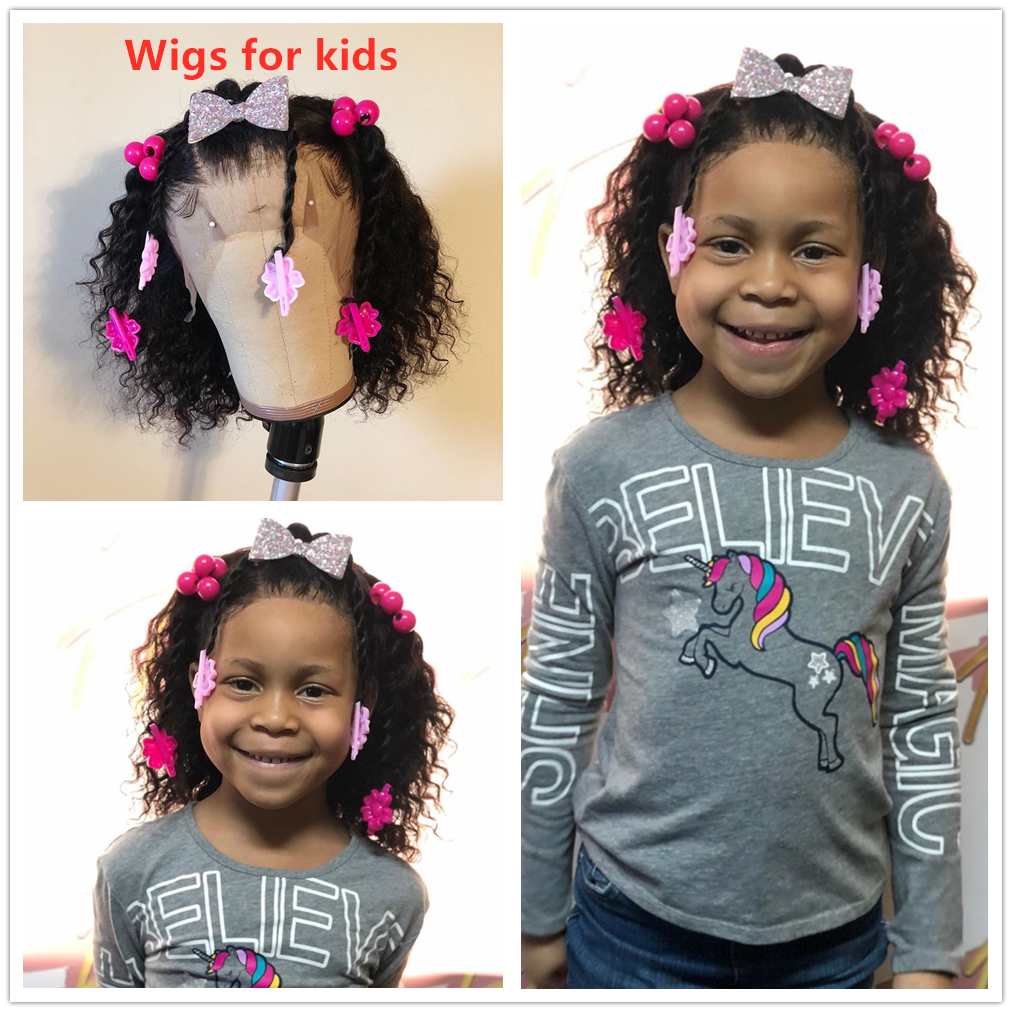 Customized kids curly human hair wig Lace Front Human Hair Wigs kids wig 360 lace frontal wig  pre plucked glueless wig for kids