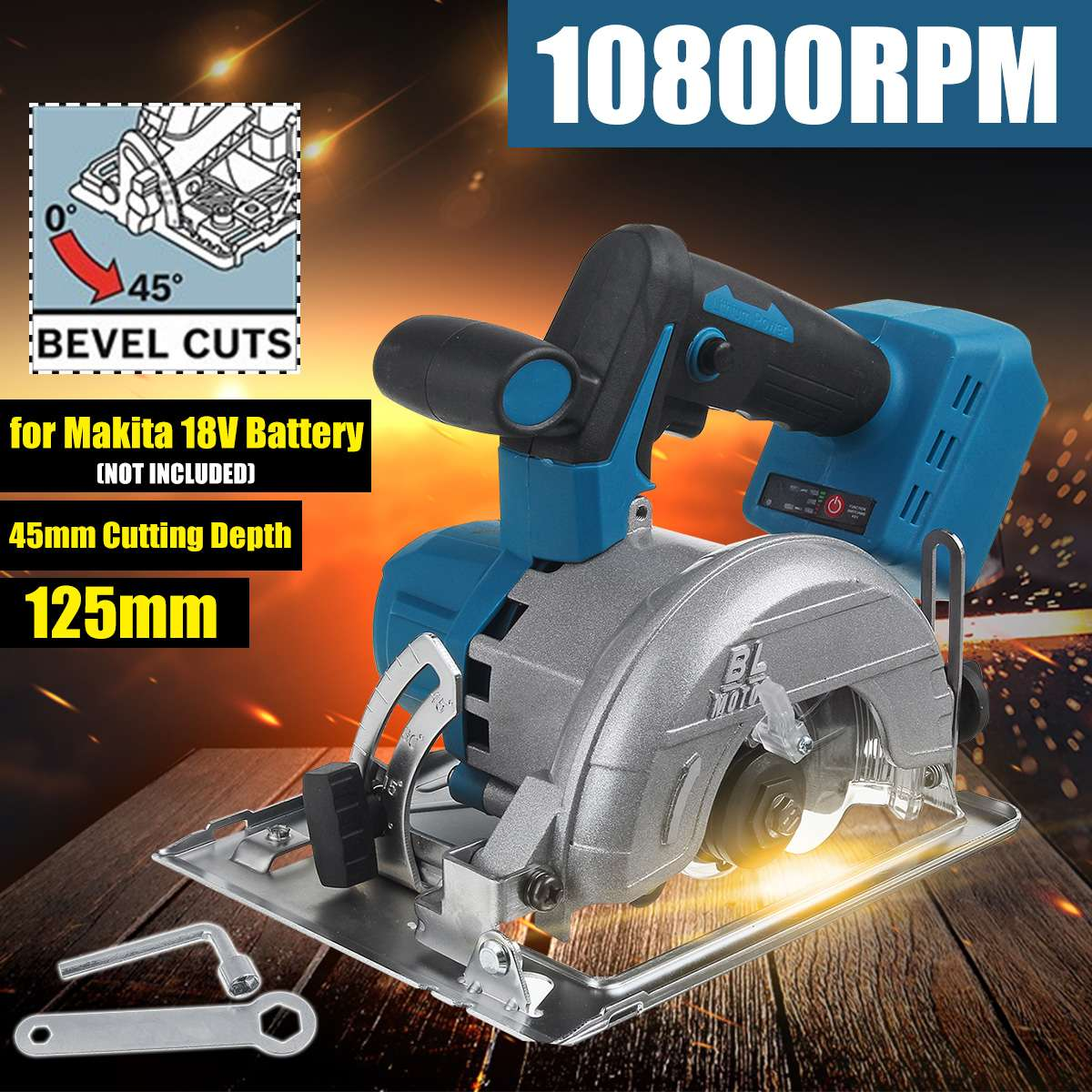 Adjustable Color Electric  18V 10800RPM 0 45   For  To  Makita Cordless 125mm Battery Cutter Circular    Machine Sawing   Randem Wood