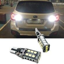 2 pçs t15 w16w 15smd 2835 led canbus lâmpada da cauda do carro luz de freio para subaru brz forester impreza legado outback backup reverso lâmpada