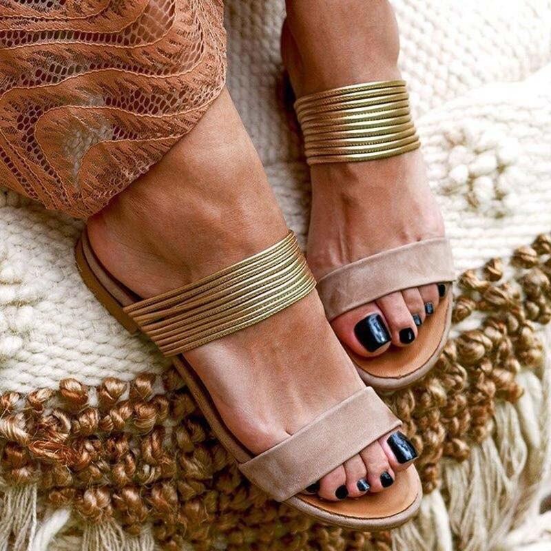 Women Rome Sandals New Summer Hot Retro Flock&PU Wedges Gladiator Non-slip Slippers Ladies Party Office Beach Slides Sandals