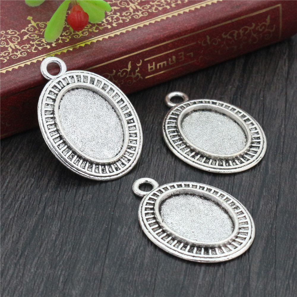 8pcs 13x18mm Inner Size Antique Silver Plated Simple Style Cameo Cabochon Base Setting Charms Pendant Necklace Findings  (D4-31)