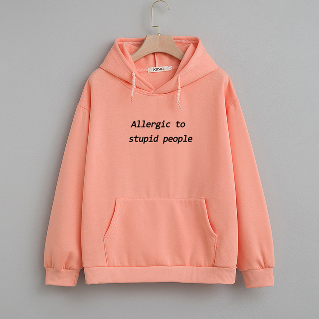 Cotton Sweatshirt Women Oversized Hoodie Female Harajuku Allergic To Stupid People Letter Print Sweatshirts Kpop Plus Size Tops 3