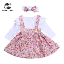 Brand New Baby Girl Clothes Newborn for Female Outfit Infant Clothing Set Floral 3pcs Skirt+Romper+Hairband Spring Fall