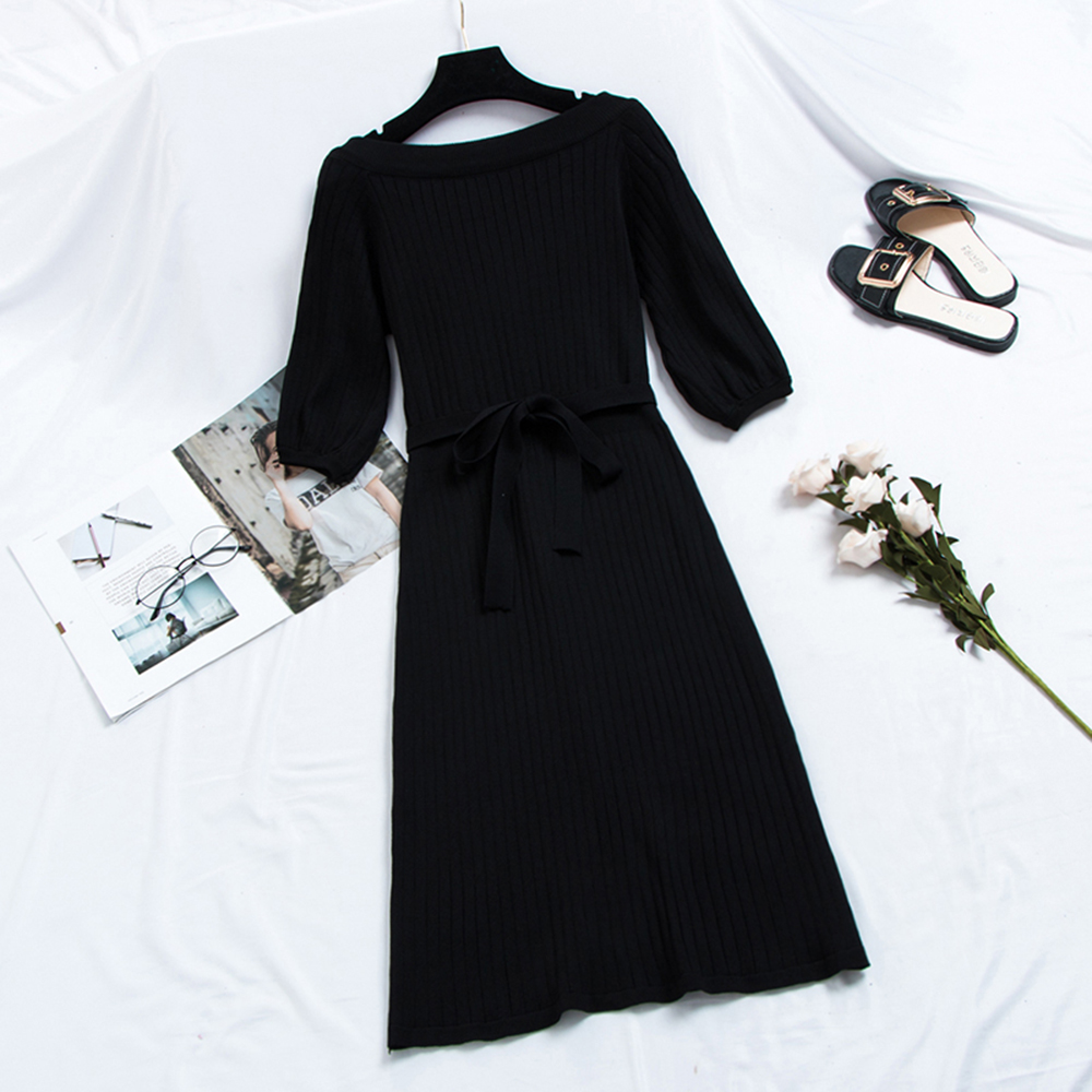 Women Knit Sweet Midi Dresses Elegant Korean Fashion A Line Lace Up Bow Girl Autumn 2020 Preppy Style Casual Chic Sweater Dress 2