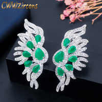 CWWZircons Lovely Angel Wings 4.5 cm Cubic Zirconia and Green Crystal Stone Long Stud Earring 925 Steriling Silver Post CZ015