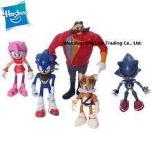 Hasbro Sonic the Hedgehog 6pcs/set Amy Rose Dr. Eggman Miles Prower Knuckles Echidna Metal Display toys