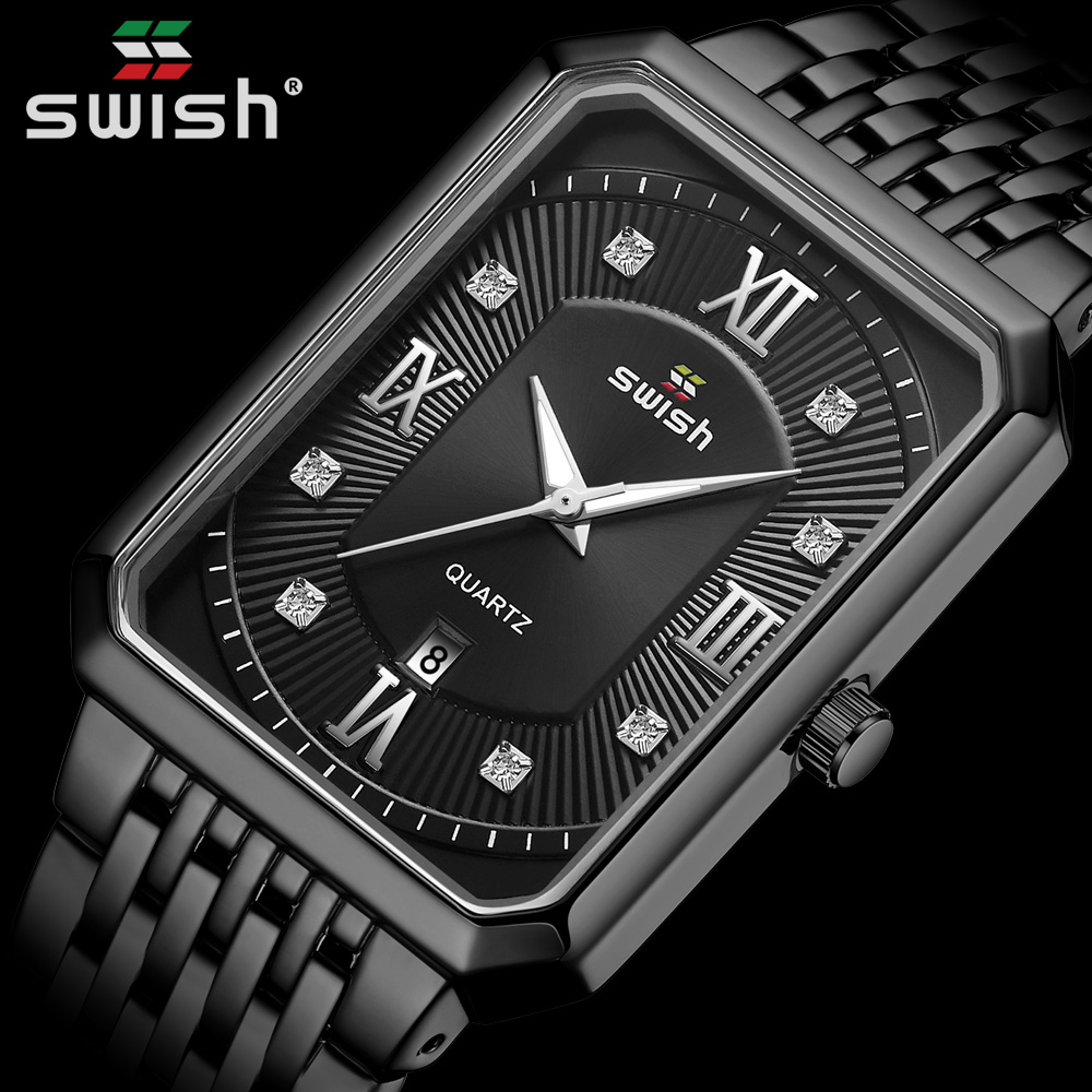 Black Watches for Men Warterproof Mens Watch Top Brand Luxury Clock Male Rectangle Business Quartz Wristwatch Relogio Masculino 1