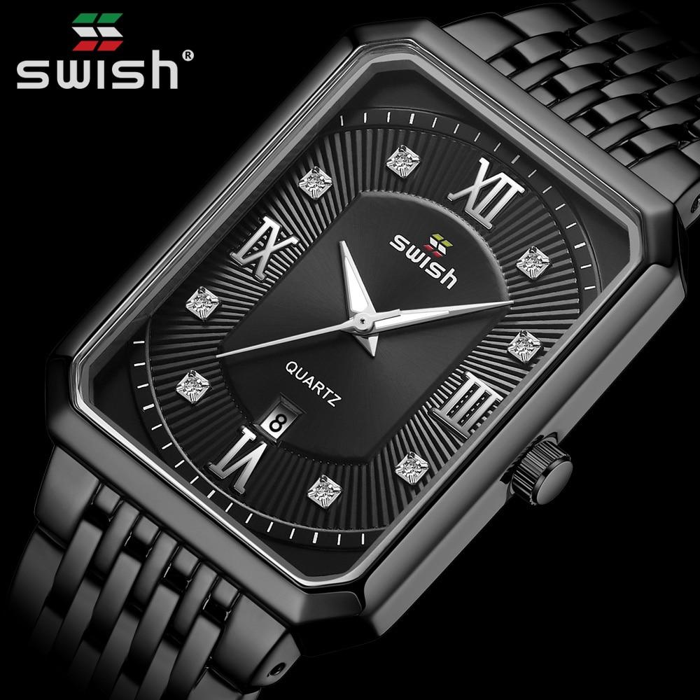 Black Watches for Men Warterproof Mens Watch Top Brand Luxury Clock Male Rectangle Business Quartz Wristwatch Relogio Masculino 1