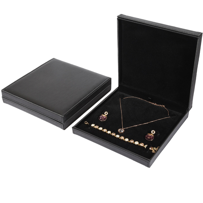 19x19x5cm PU Leather Velvet Jewelry Earring Necklace Gift Box For Jewerlley Set Display Storage Case